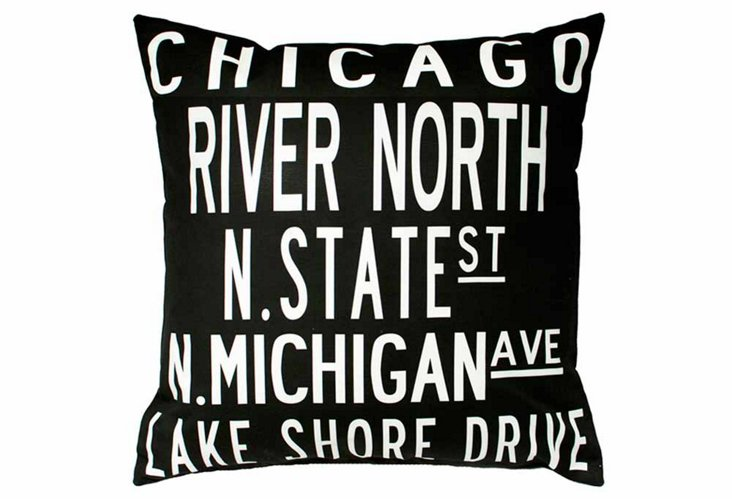 Chicago 20x20 Pillow, Black