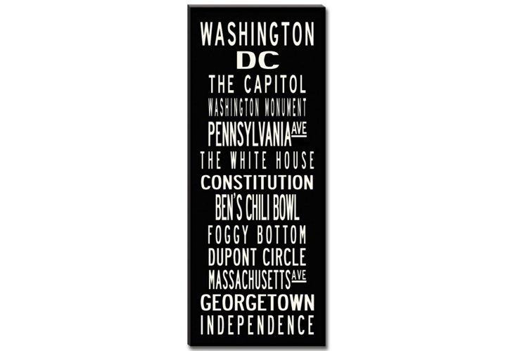Washington, D.C. Canvas, Black