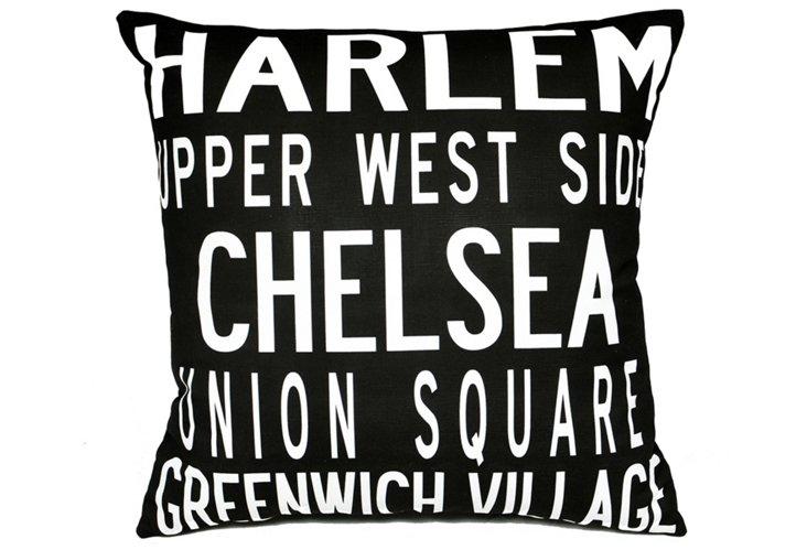 NYC Neighborhoods 20x20 Pillow, Black
