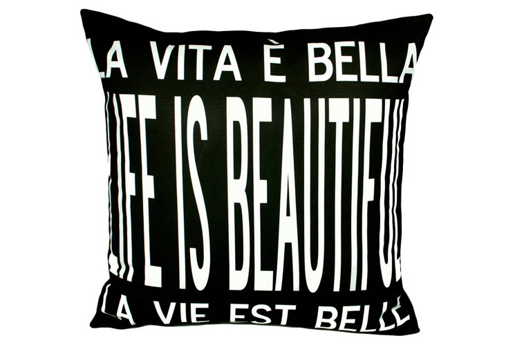 Life Is Beautiful 20x20 Pillow, Black