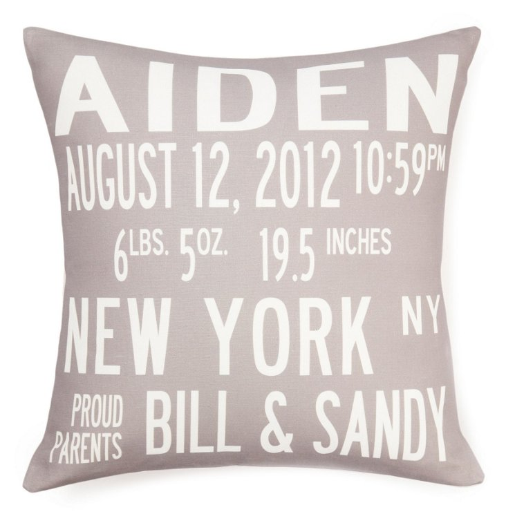 Birth 16x16 Pillow, Gray