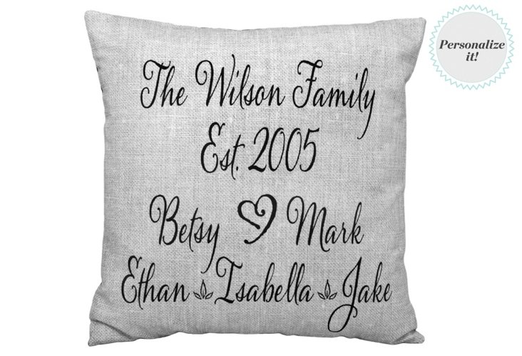 Personalized Names 20x20 Pillow, Stone