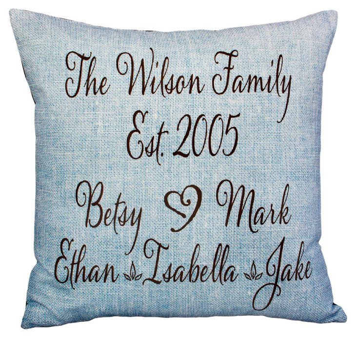Names 20x20 Pillow, Blue