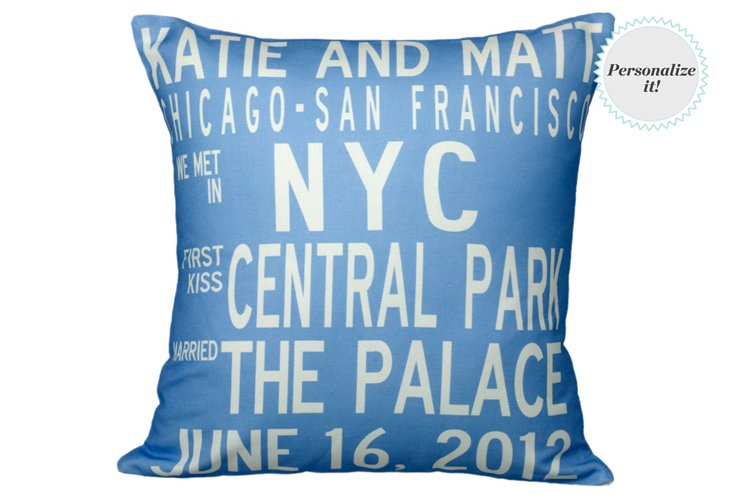 Personalized Anniversary 16x16 Pillow, Blue