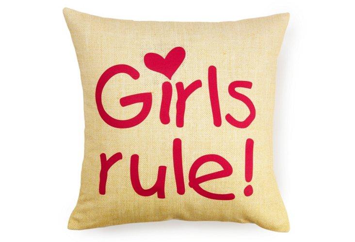 """Girls Rule"" 16x16 Pillow, Yellow"