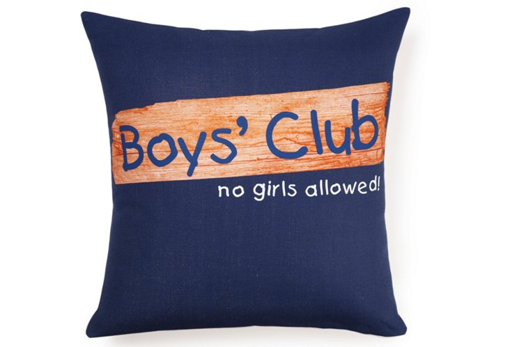 Boys' Club 16x16 Pillow, Blue