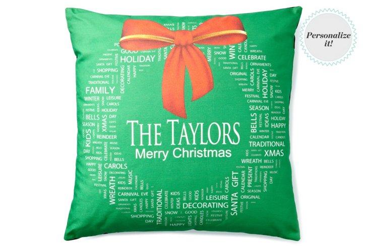 Christmas Wreath 20x20 Pillow, Green