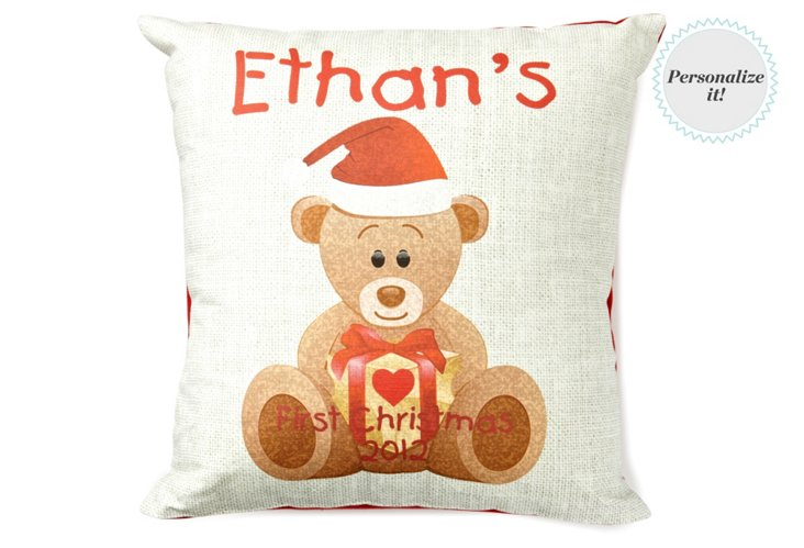 1st Christmas Bear 16x16 Pillow, Multi