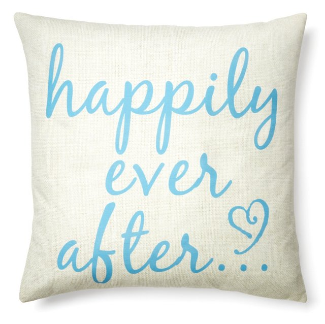 """Happily Ever After"" 20x20 Pillow, Blue"