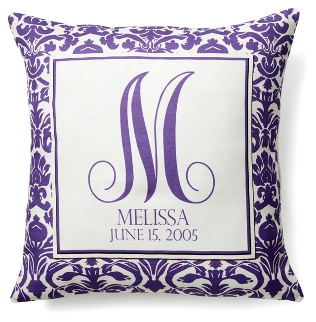Monogram 16x16 Pillow, Purple