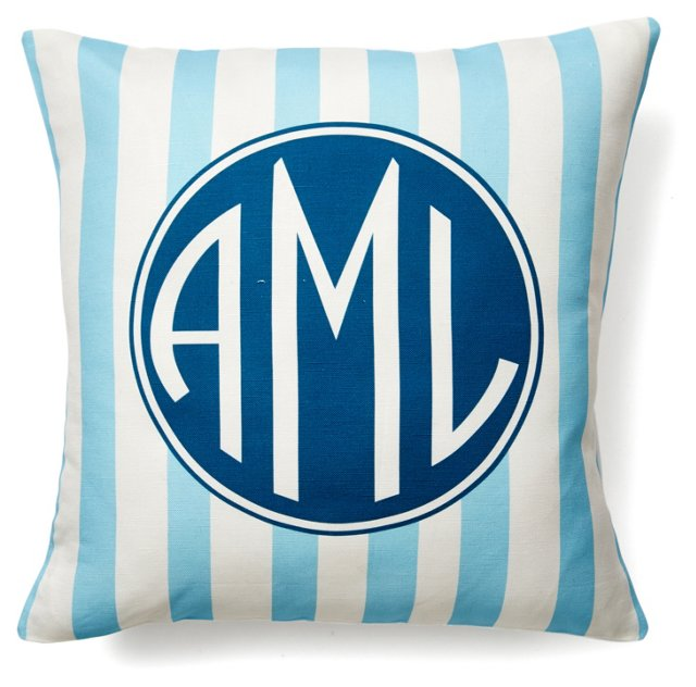 Monogram 16x16 Pillow, Sky Blue/Navy