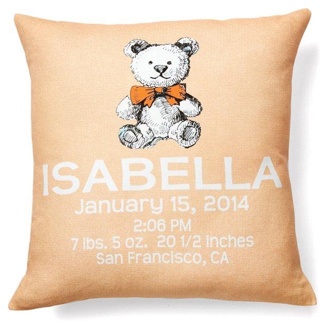 Bear Personal 16x16 Linen Pillow, Orange