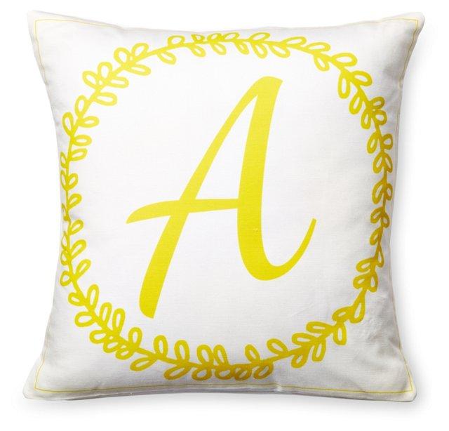 Wreath 16x16 Pillow, Yellow