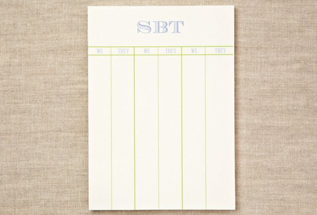 S/4 Custom Bridge Score Pads, Fern/Blue