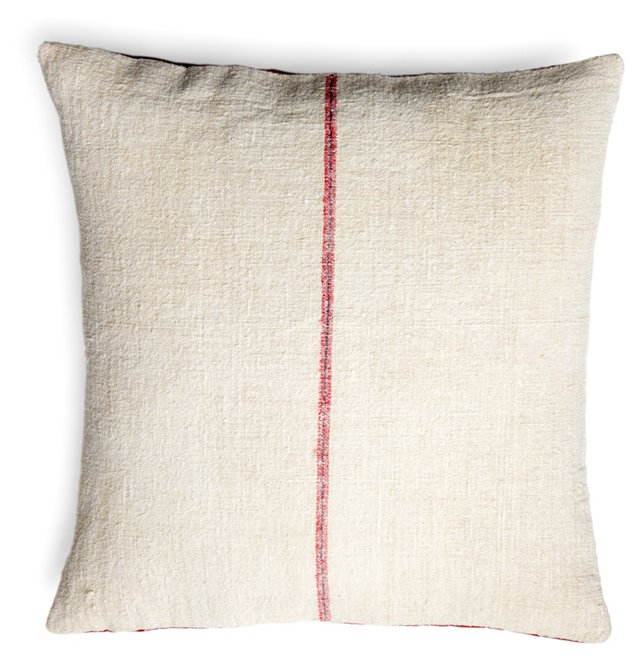 Classic Stripe 22x22 Pillow, Red