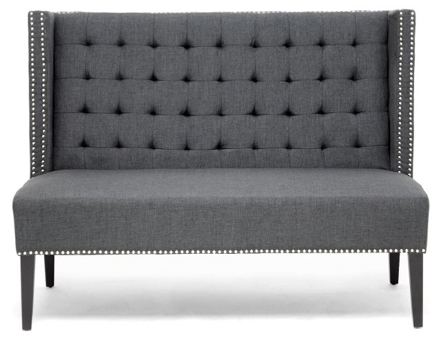 Owstynn Banquette Bench, Charcoal
