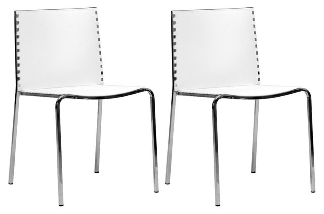 White Gridley Side Chairs, Pair