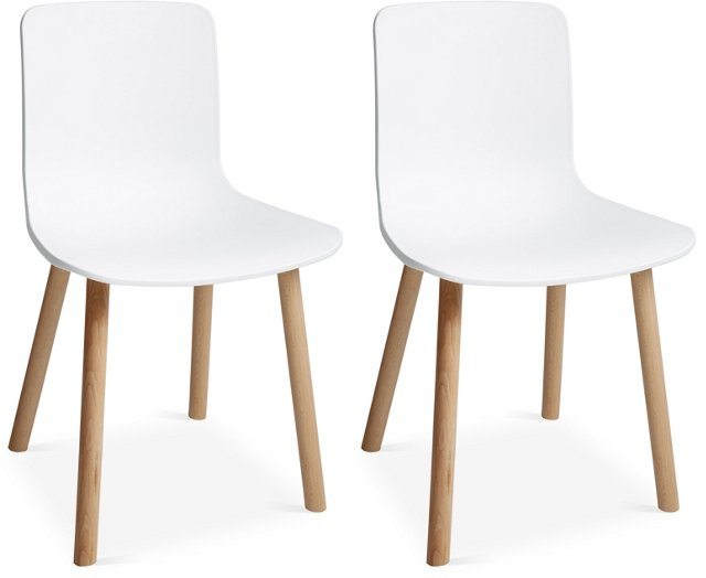White Lyle Dining Chairs, Pair