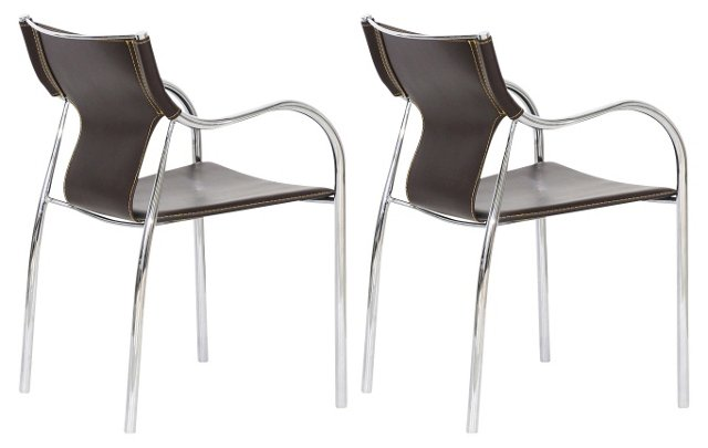 Brown Harris Dining Chairs, Pair