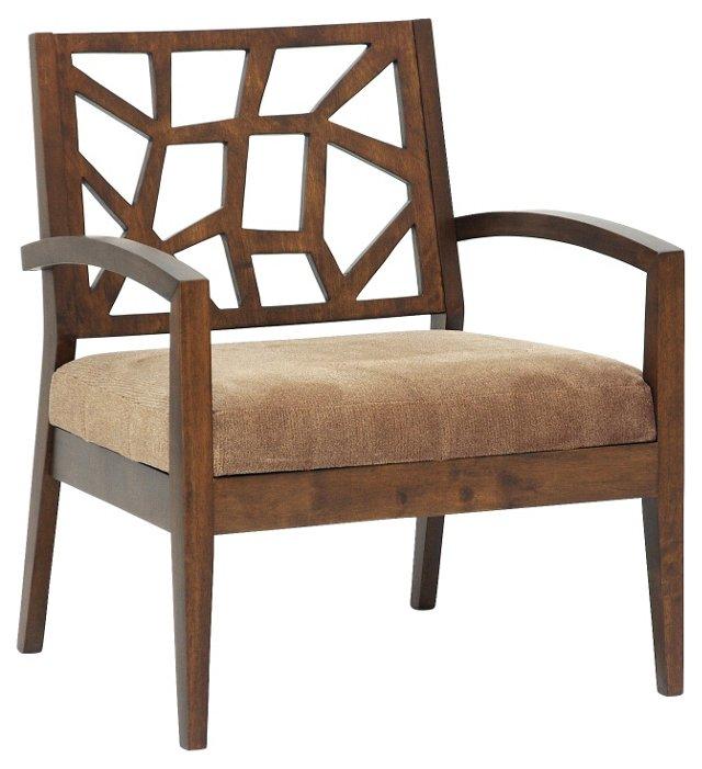 Jennifer Modern Lounge Chair, Walnut/Tan