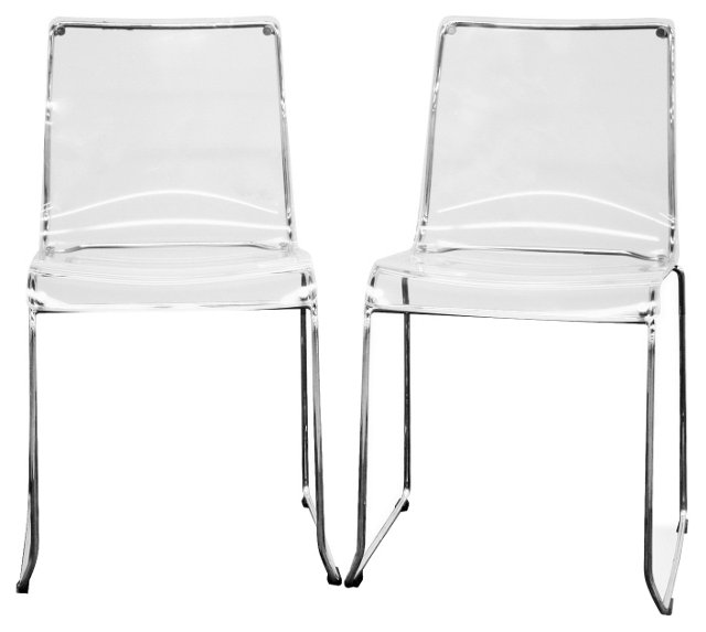 Clear Acrylic Lino Dining Chairs, Pair