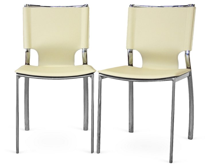 Ivory Montclare Dining Chairs, Pair