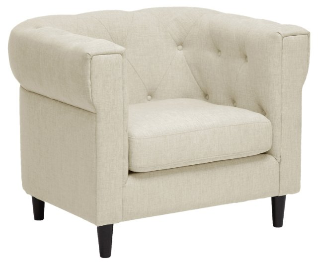 Cortland Chesterfield Chair, Beige