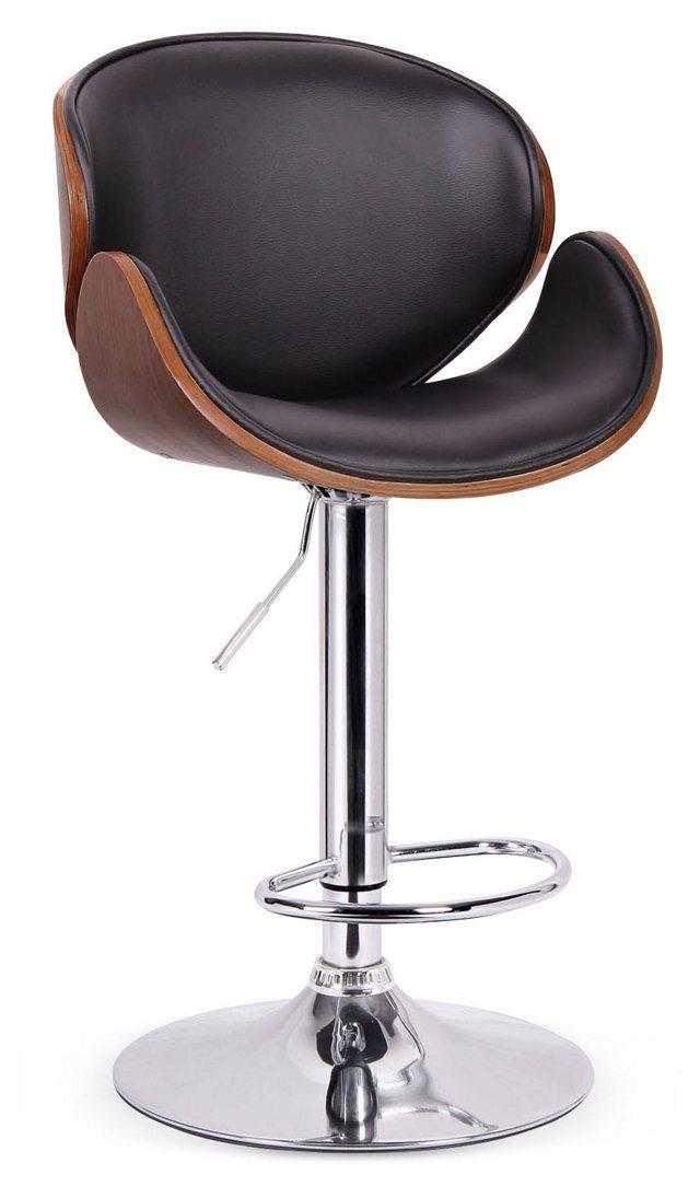 Crocus Modern Barstool, Walnut/Black