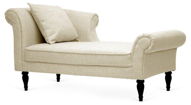 Lucille Victorian Chaise, Beige