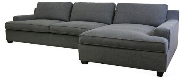 Kaspar Sectional Sofa, Charcoal