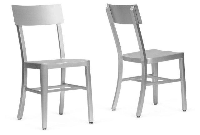 Helen Aluminum Dining Chairs, Pair