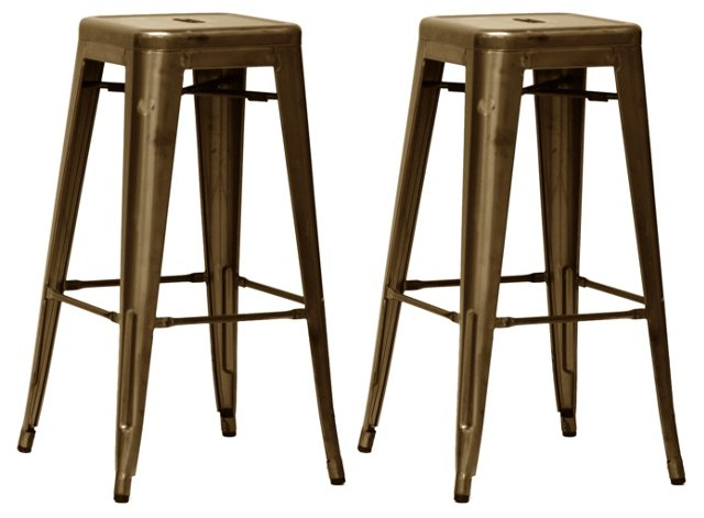 Bronze Industrial Barstools, Pair