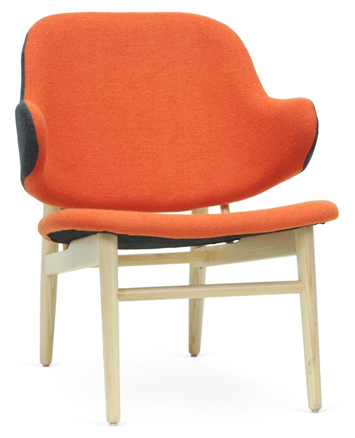 Kehoe Modern Accent Chair, Gray/Orange