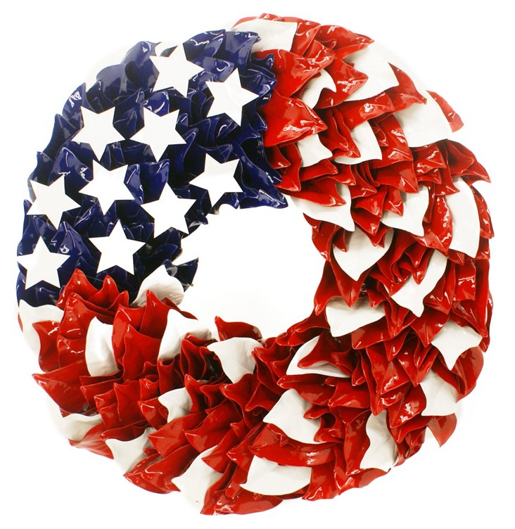 """18"""" Patriotic Magnolia Wreath, Dried"""