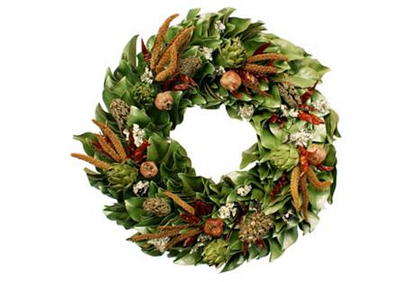 Chili & Artichoke Wreath, Dried