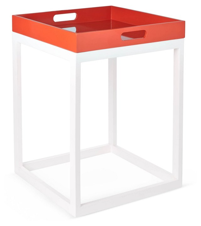Bailey Tray Table, Coral/White