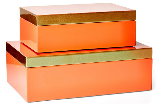 Asst. of 2 Wooden Boxes, Coral