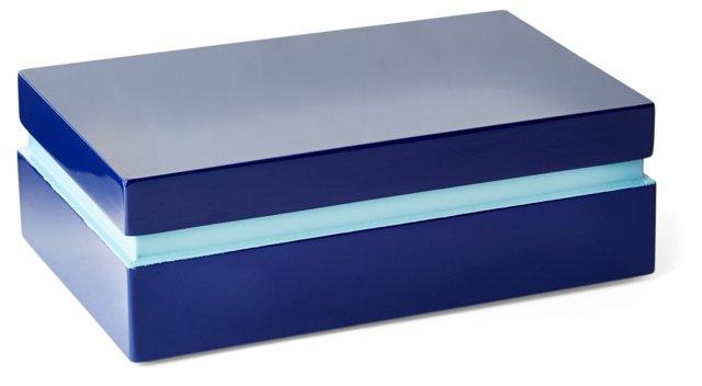 """8"""" Wood Box, Blue"""