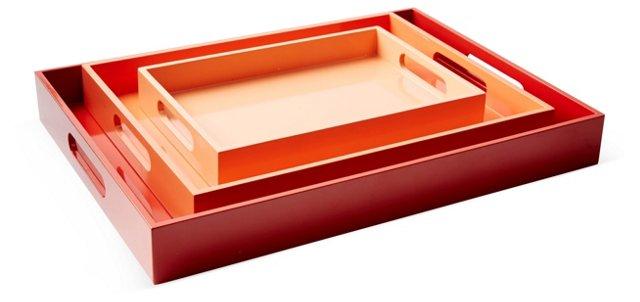 Asst. of 3 Wood Trays, Orange