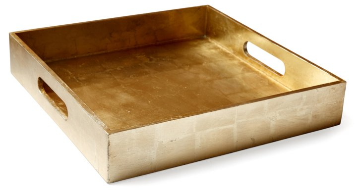 "12"" Geddes Square Tray, Gold"