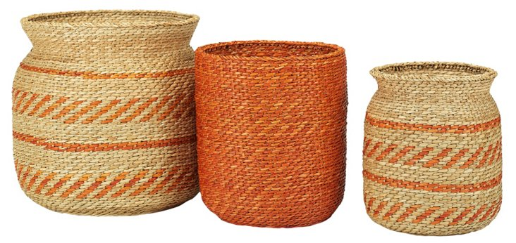 S/3 Asst Sea-Grass Baskets, Orange