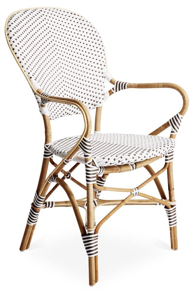 Brigitte  Armchair, White/Gray