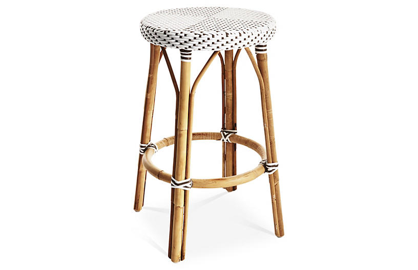 James Counter Stool, White/Cappuccino