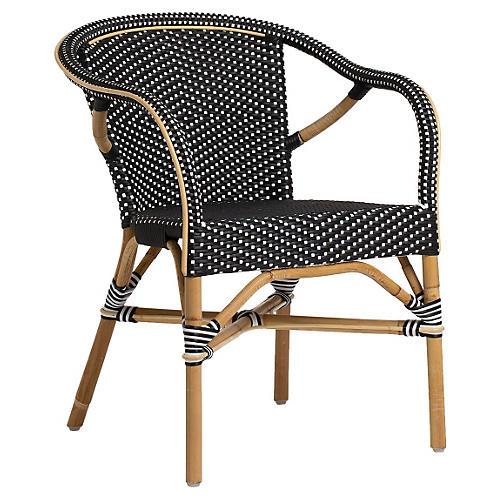 Madeleine Outdoor Bistro Armchair, Black
