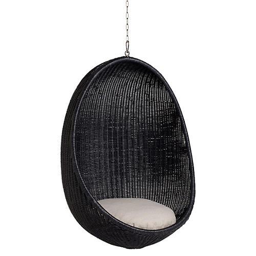 Hanging Indoor Egg Chair, Black