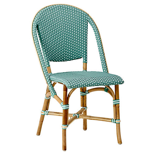 Sofie Bistro Side Chair, Salvie Green/White