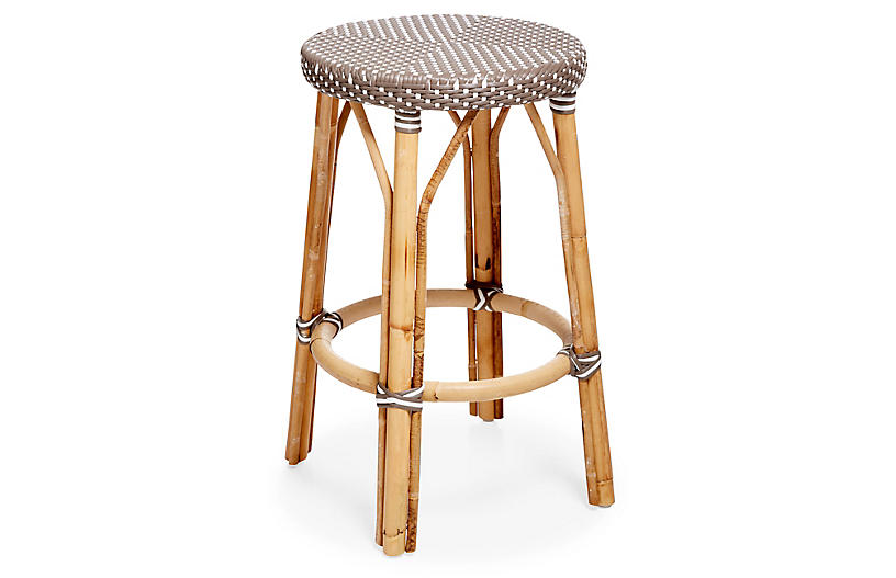 Simone Counter Stool, Cappuccino/White