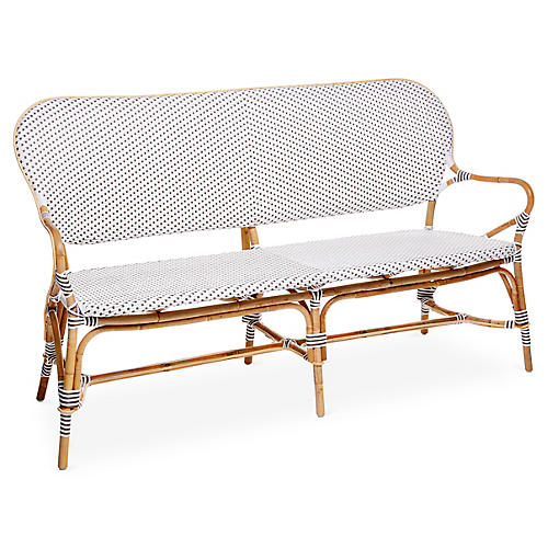 Isabell Bench, White/Cappuccino