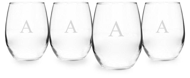 S/4 Monogram Stemless Wineglasses