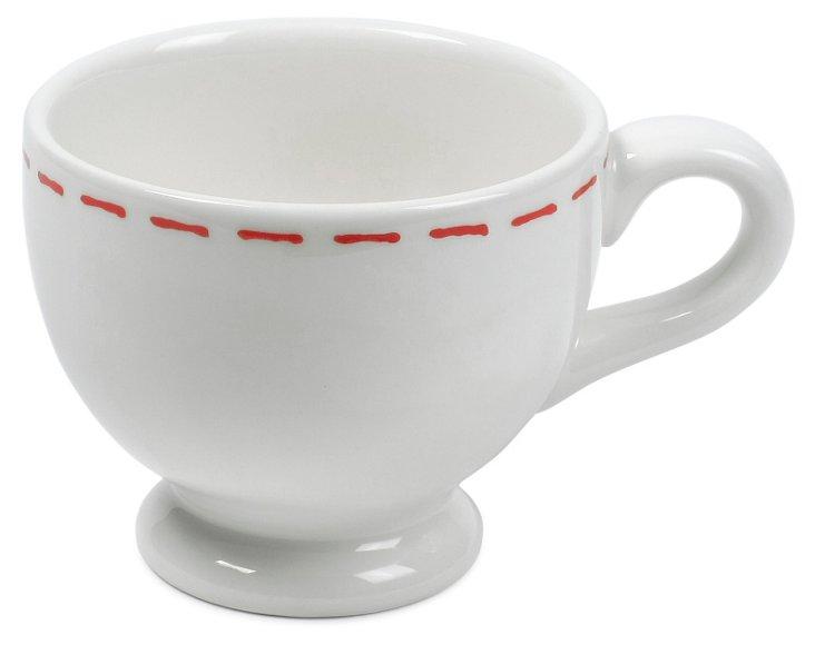 S/4 Sophie Stitch Coffee Mugs, Red